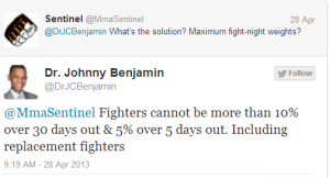 Dr Benjamin Tweet Re Making Weight