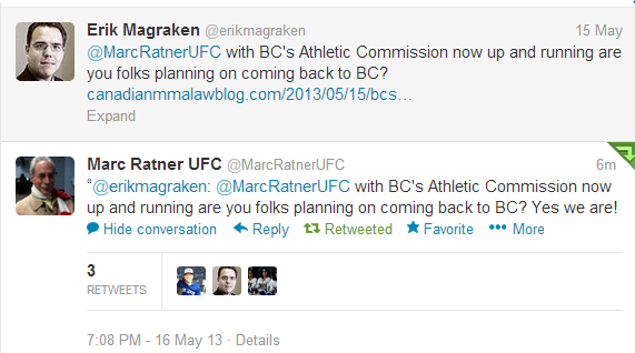 Marc Ratner Twitter Reply confirming BC is back on the UFC map