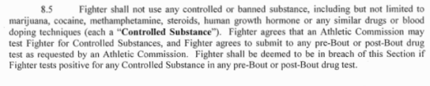 UFC Fighter Cotract Controlled Substances Clause