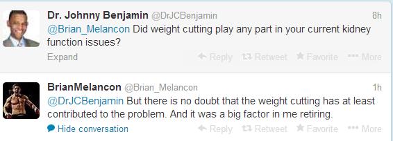 melancon tweet re weight cutting