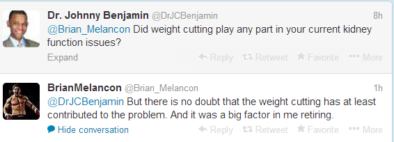 melancon tweet re weight cutting