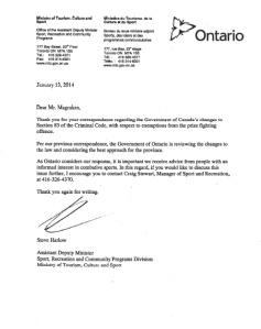 Ontario Ministry of Sport Reply Letter Screenshot