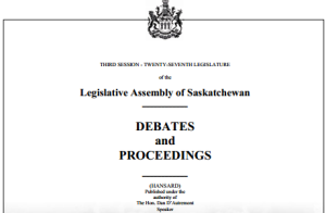 Saskatchewan Hansard Debate Photo