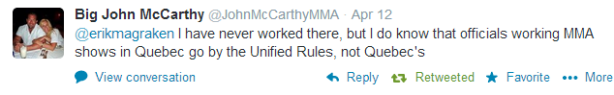 John McCarthy Quote Re Quebec MMA