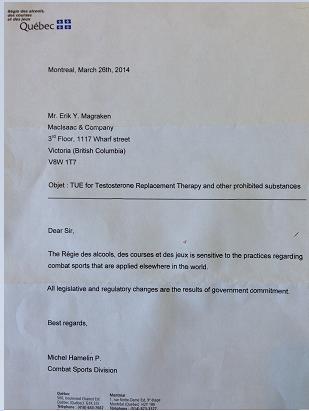 Quebec Regie TRT TUE Response Letter