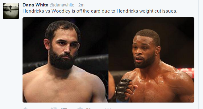 Dana White Tweet Hendricks Weight Cut Issues