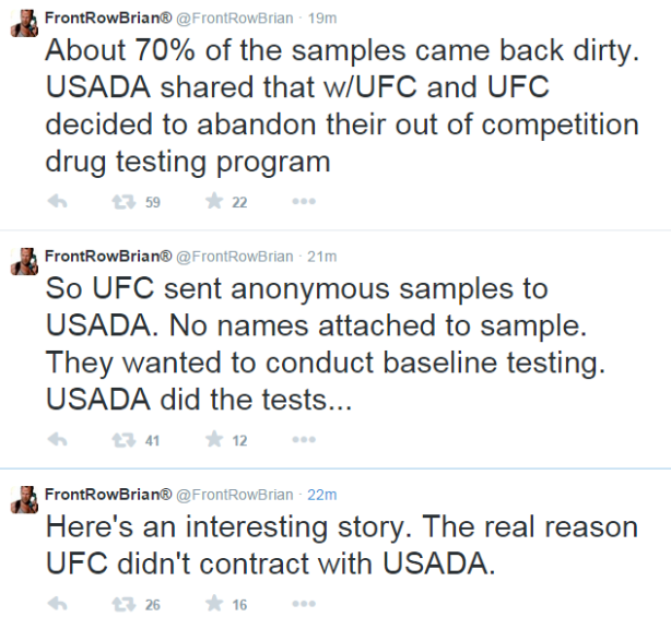 FRB Tweets Re UFC USADA Testing