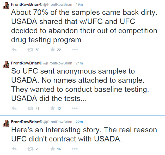 FRB Tweets Re UFC USADA Testing