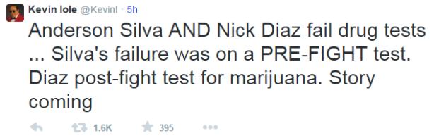 Kevin Iole Tweet Silva Diaz Drug Tests