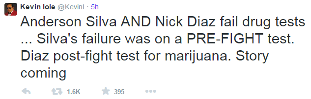 Kevin Iole Tweet Silva Diaz Drug Tests