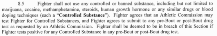 Zuffa Fighter Contract Drug Testing Clause