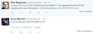 Cody McKenzie Fight Cancelled Tweet