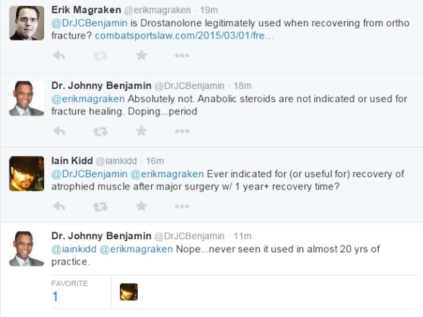 Dr Benjamin Tweets re Drostonolone