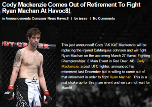 Havoc FC 8 McKenzie Announcement
