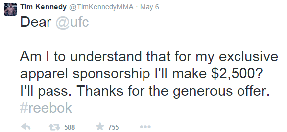 Tim Kennedy UFC Reebok Tweet
