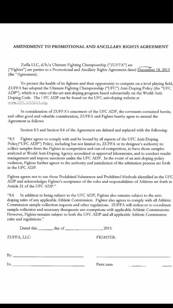 FRB tweet image of Zuffa Contract Addendum re PED testing policy