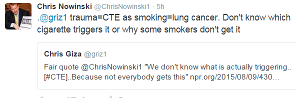 Tweet RE CTE and Trauma