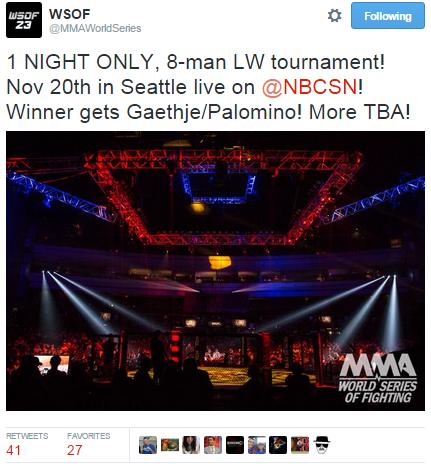 WSOF Tweet Re Elimination Tournament