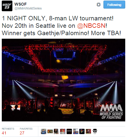 WSOF Tweet Re Elimination Tournament