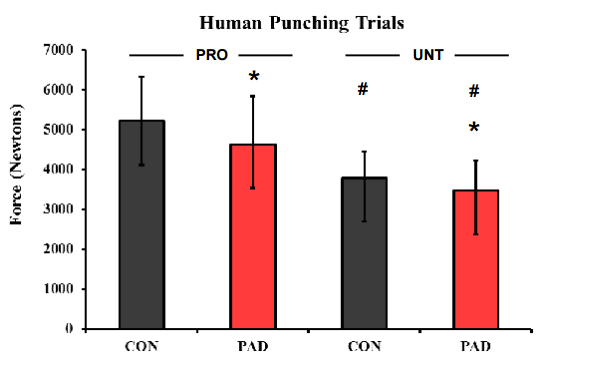 Graphic from padded punching power study