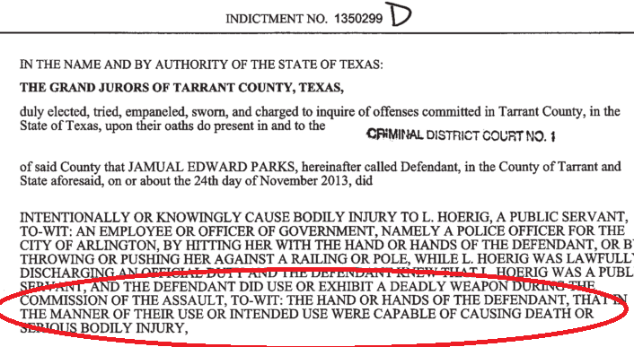 Parks Indictment Screenshot
