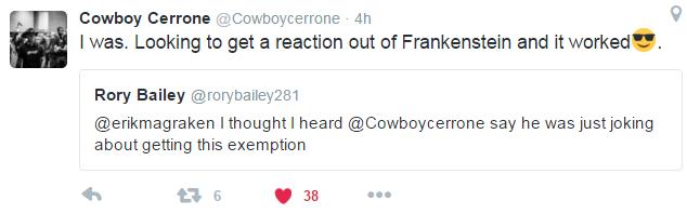 Cerrone Tweet