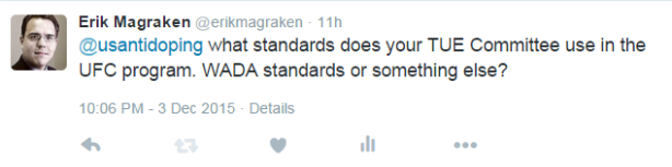 Tweet to USADA re TUE Standards