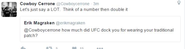 Cerrone Tweet re Reebok Sanction