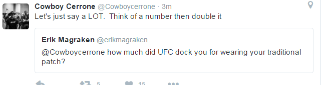 Cerrone Tweet re Reebok Sanction