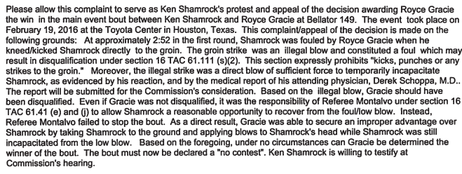 Screenshot Shamrock Complaint