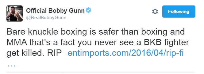 Bobby Gunn Tweet Screenshot