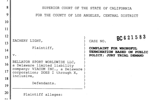 BEllator Lawsuit Screenshot