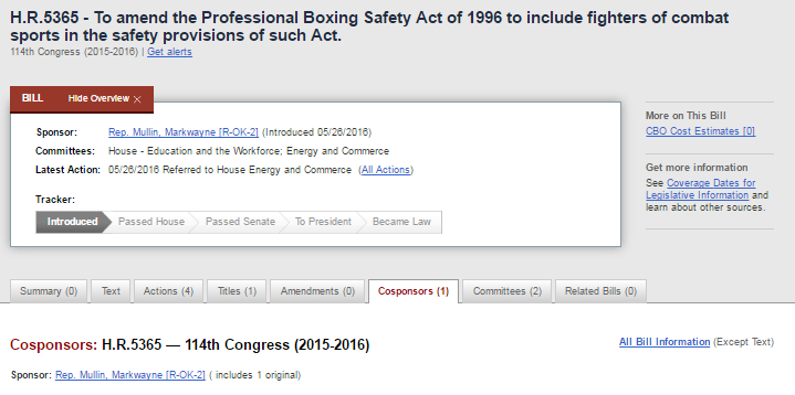 MMA Ali Act Introduced in Congress