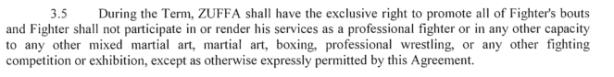 Zuffa no boxing clause
