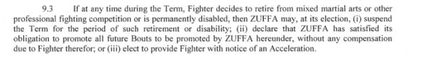 Zuffa retirment clause