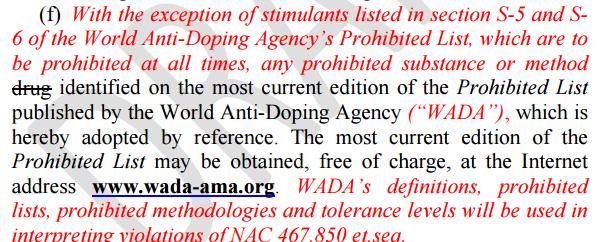 NSAC Stimulant Reg