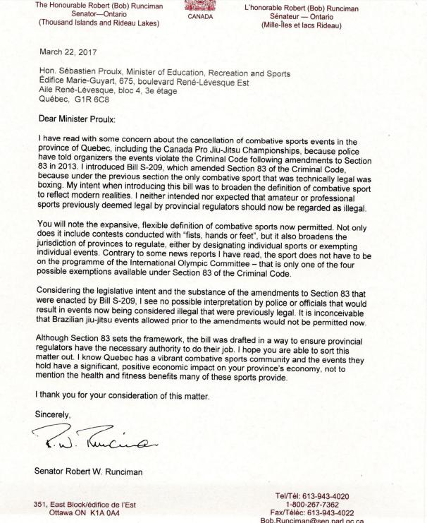 Senator Runican Letter Screenshot