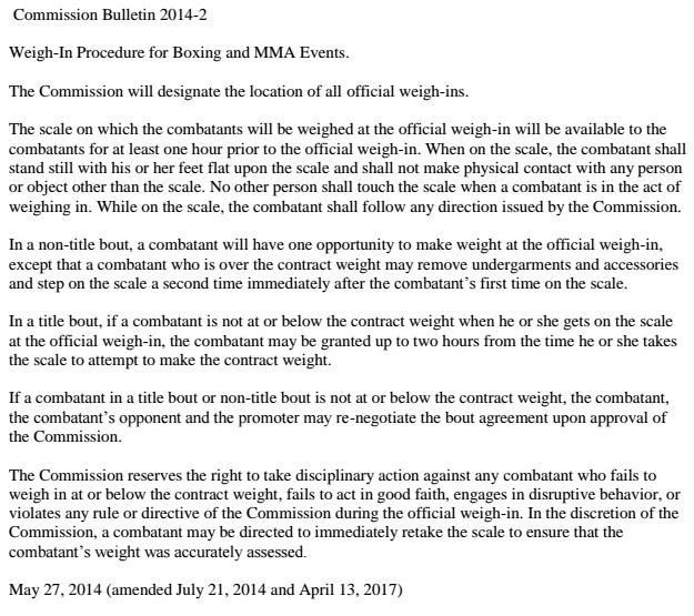 NYSAC weigh in bulletin