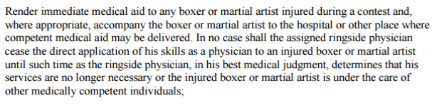 Virginia Duties of Ringside Physicians