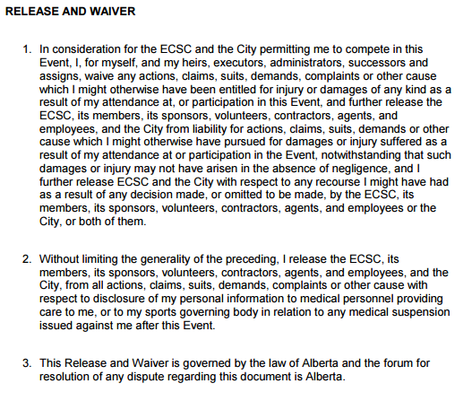 ECSC Release and Waiver