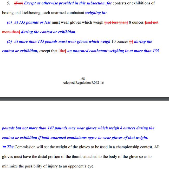 Screenshot NSAC glove rule
